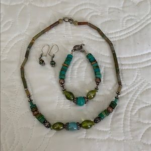 Turquoise stone and glass bead three piece set